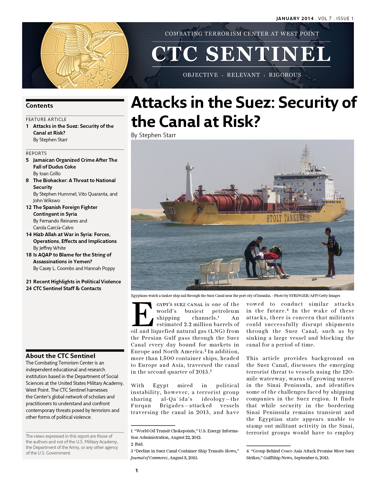 attacks in the suez security of the canal at risk combating terrorism center at west point