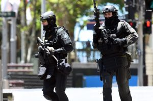two armed police officers