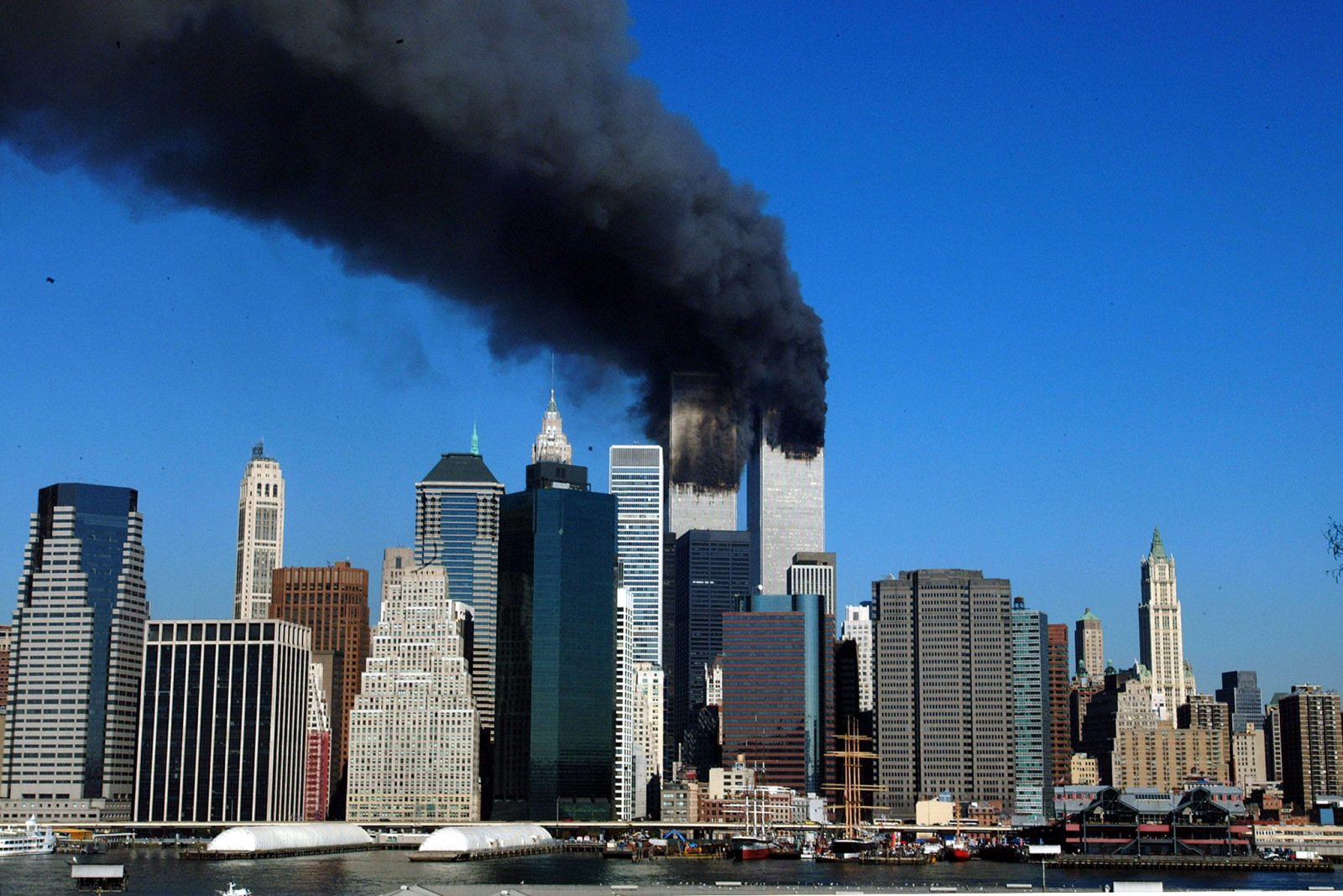 World Trade Center with smoke on September 11, 2001